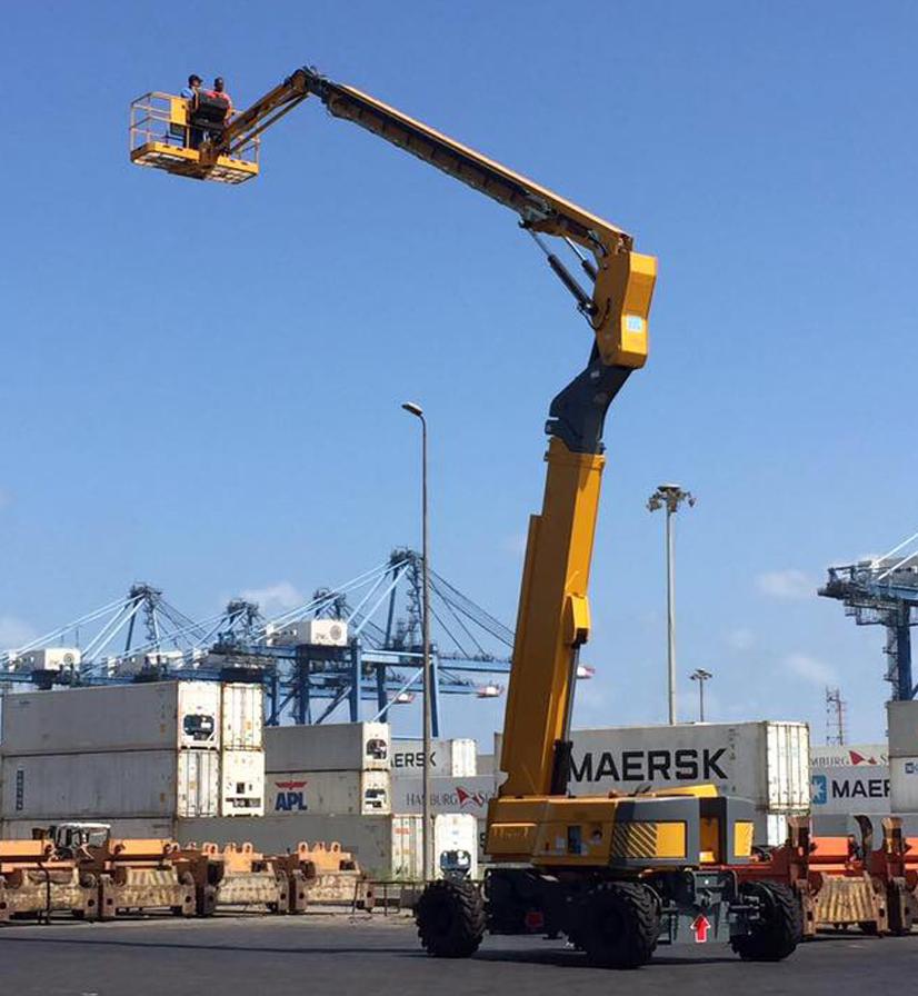 дизельный коленчатый подъемник ha41px в порту