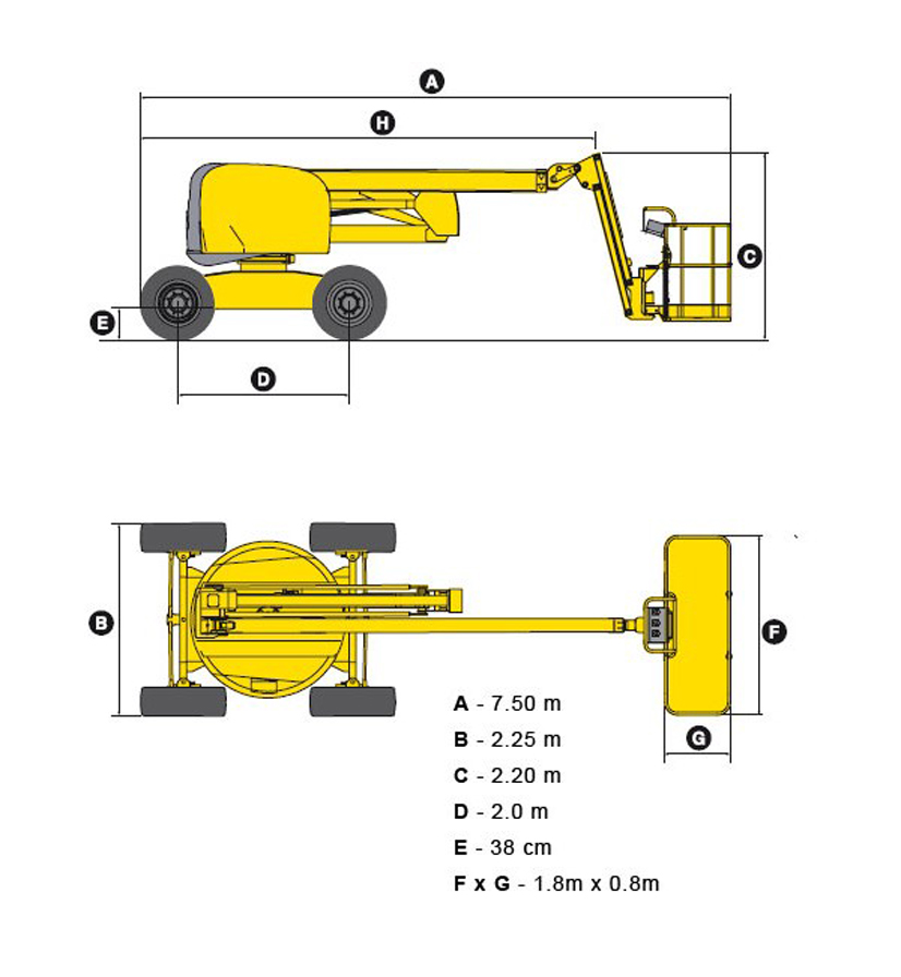 размеры подъемника HA18PX